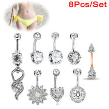 9pcs Nose Ring Open Hoop Lip Body Piercing Clip on Studs Stainless Steel Jewelry