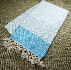 Turkish Hammam Nefes Peshtemal, Beach Towel Turquiose&White 100x180cm 100%Cotton