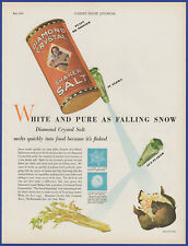 Vintage 1930 DIAMOND CRYSTAL Shaker Salt Kitchen Ephemera Décor 30's Print Ad