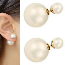 Lots Fashion Women Two-sided Front And Back Big Pearl Earrings Ear Stud