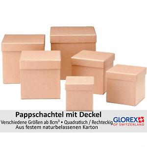 Glorex quadratische Pappschachteln mit Deckel, Naturfarben, diverse Größen