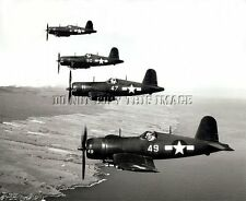 NICE REPRINT 8X10 PHOTOGRAPH OF 4 STACKED F4U CORSAIR FIGHTER PLANES WW11