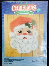 "Vintage 1991 Santa Clause Christmas Latch Hook NEW 18"" x 24"" Yarn Stamped Canvas"