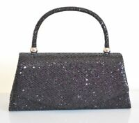 SAC femme pochette noir métallique paillettes cérémonie clutch bag élégante Z12