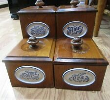Pfaltzgraff Yorktowne Wooden Set of Four Lined Canisters EUC Very Rare