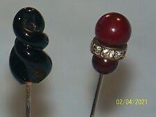 Antique Lot Of 2 Hat Pins Stick Pins, Glass, Pearl, Rhinestones