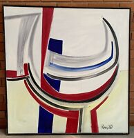 Amazing Vintage 60s Abstract Oil Painting Mid Century Modern Wall Hanging Signed