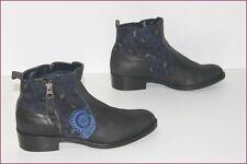 DESIGUAL Bottines Boots Cuir Noir Motifs Bleu Marine T 37 TBE