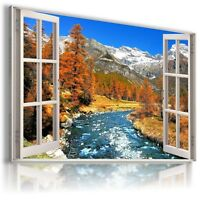 "MOUNTAIN RIVER SNOW 3D Window View Canvas Wall Art Picture  38X24"" W24 MATAGA ."