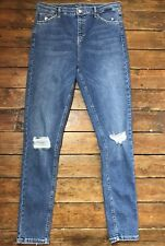Topshop Moto Skinny Jeans Jamie Ripped Blue Size 16 W34  To Fit L34  V~55