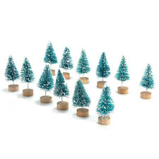 12x Mini Sisal Bottle Brush CHRISTMAS TREES Santa Snow Frost Village Putz House