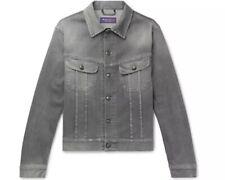 RALPH LAUREN PURPLE LABEL Gray Stretch-DENIM TRUCKER Jacket XL