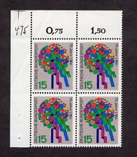 West Germany: 75th Anniv of May 1st (Labour Day); mint block of 4