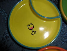 TIME TO CELEBRATE TIDBIT/SNACK/HORS D'OEUVRES  PLATES SET OF 4 EUC MULTI-COLOR