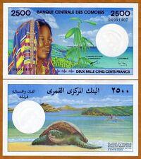 Comoros, Comores 2500 (2,500) Francs, ND (1997), P-13, UNC > Colorful