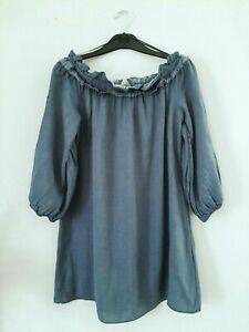 MISS SELFRIDGE AIRFORCE BLUECHAMBRAY SILKY WOVEN BARDOT TUNIC / MINI DRESS 10