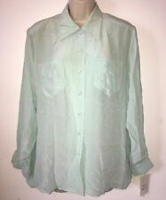 Vintage Country Casuals 100% Pure Silk Size L Shirt- Pale Turquoise