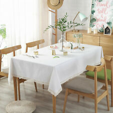 Nordic White Fabric Table Cloth Table Cover Rectangular Table Dining Tableware