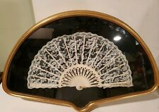 Antique Hand Fan 19 Century? From Lace,Hand Painted Beautiful, Framed