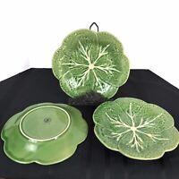 "Vintage Bordallo Pinheiro of Portugal Green Cabbage Luncheon 9 1/4"" Salad plates"