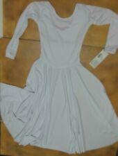 PRAISE DRESS LITURGICAL DANCE White Child sizes 13524C Jewel Neck long sleeve