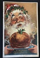 Christmas ~Santa Claus with Crown of Holly & Plum Pudding~Antique Postcard--s812