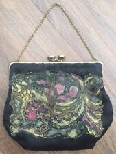 Vintage small black evening clasp bag. Approx 1930s/40s