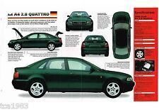 Audi A4 2.8 QUATTRO SPEC SHEET/Brochure/Catalog: 1998,
