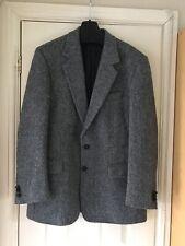 Harris Tweed Mens Blazer Jacket UK 40 Reg Grey Blue Mix Flecked Hand Woven Wool