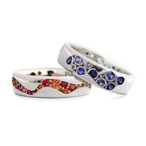 Gorgeous Sapphire Ruby 925 Silver Cocktail Кольцо Wedding Couple Rings Jewelry