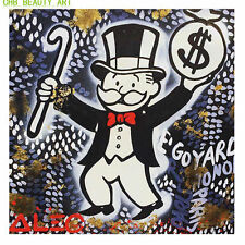 "Alec Monopoly ""Gold Man"" HD print on canvas large home decor wall picture 36x24"""