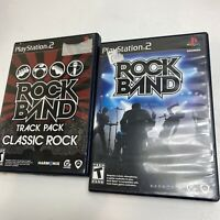 PLAYSTATION 2 PS2 ROCK BAND & ROCK BAND TRACK PACK CLASSIC ROCK COMPLETE GAMES