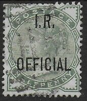 SG O2. 1/2d.Pale Green 'I.R. OFFICIAL'. Fine Used. Cat.£40.  Ref:1254
