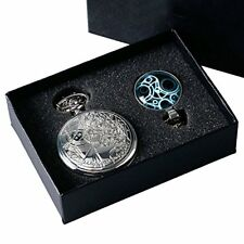 YISUYA Retro Silver Doctor Who Retro Dr Who Full Hunter Pocket Watch with Chain