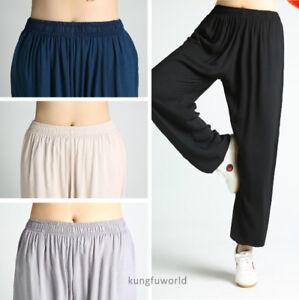 Soft Cotton Kung fu Tai chi Pants Martial arts Shaolin Wing Chun Wushu Trousers