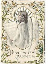 Terrific Die Cut, Embossed, Pierced Easter Angel Victorian Greeting Card