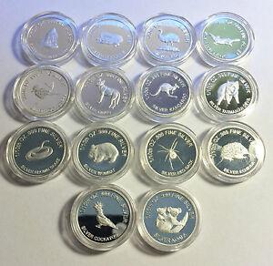 "Comp Set of 14 1/10th Oz 999.0 Pure Silver Bullion Proof Coins ""Aust Animals"""