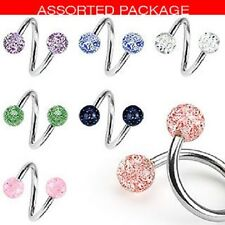 NEW LOT OF 7 X GLITTER SPIRAL BELLY BARS NAVEL RINGS PIERCING NEW (J40)