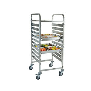 Catering Stainless Steel 10 Level Racking Trolley Bakery Food Tray Pan Rack Slot