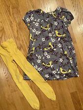 mini boden size 5-6y girls bird dress 5 6 tights