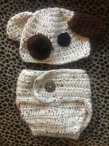 Puppy Baby Hat With & Diaper Cover Handmade Crochet New
