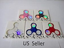 Finger LED Light Flash Hand Spinner Tri-Fidget EDC Focus Toy For Autism ADHD