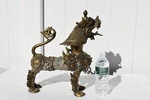 ANTIQUE/VINTAGE LARGE ORIENTAL THAILAND/CAMBODIA LION FOO DOG STATUE BRONZE LION