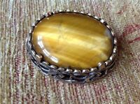 Vintage Miracle Brooch - Scottish style glass agate, signed Miracle