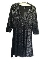 New Look Black/Silver Animal Print Velour Wrap Top Party Dress Size 10