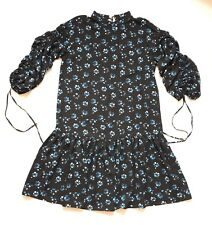 BNWT One Off Piece Size 18 Black Blue Floral Tea Dress Drop Waist Bell Sleeves