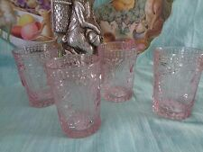 Vintage Inspired Pink Easter Bunny Spring Knobby Drinking Glasses Set 2 New