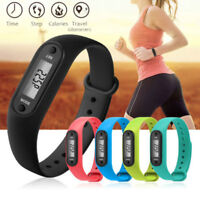 Run Step Watch Bracelet Pedometer Calorie Counter Digital LCD Walking Distance U