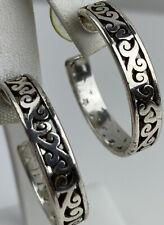Brighton Hoop Earrings Swirl Mingle Deco Silver   Post 1.25 Inch