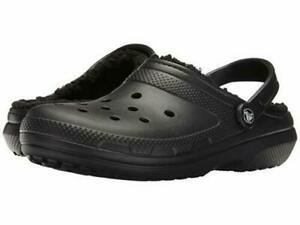 Crocs Winter Clog Classic Lined Black Fuzzy Crocs  Womens 11  Mens 9